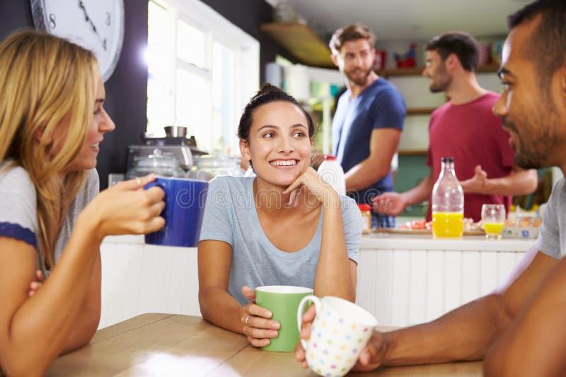 一起享用早餐的小组朋友在厨房里 库存图片