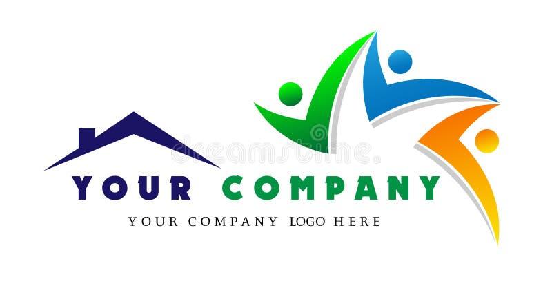 一起人家庭商标,在房子队商标,公司商标的小组作业概念的人联合 皇族释放例证
