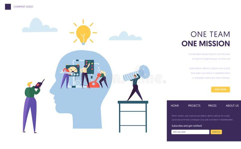 一起企业团队工作作为机制着陆页 商人领导人对成功人技巧目标的经理挑战 向量例证
