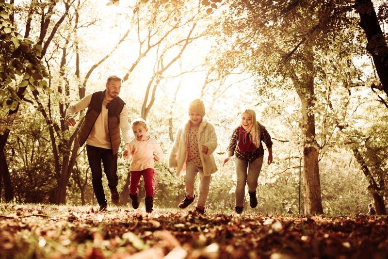 一起使用在公园和赛跑的年轻家庭 免版税库存图片
