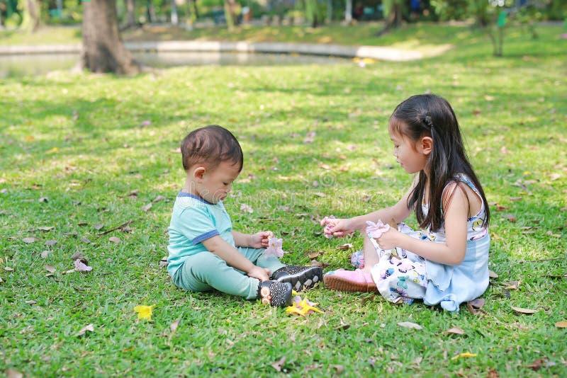 一起使用在绿色草坪庭院里的亚裔孩子 与室外她的弟弟的姐妹戏剧 免版税图库摄影