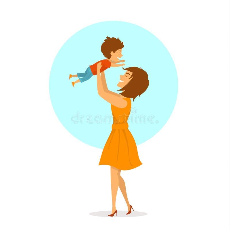一起使用愉快的快乐的母亲和小的儿子,妈妈举她的孩子的在天空中,被隔绝的逗人喜爱的动画片传染媒介illustratio 向量例证