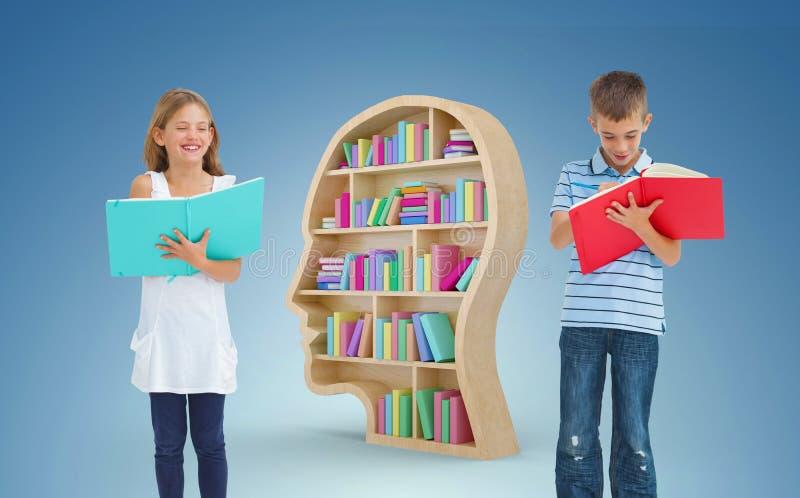 一起做他们的家庭作业的兄弟和姐妹的综合图象 免版税库存照片