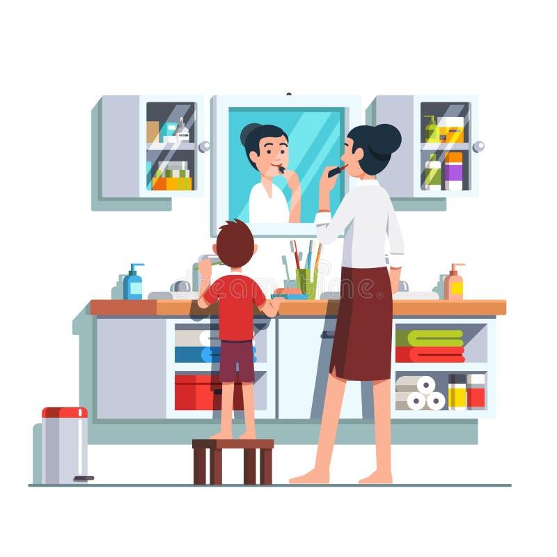 一起准备好的母亲和的儿子在卫生间 向量例证