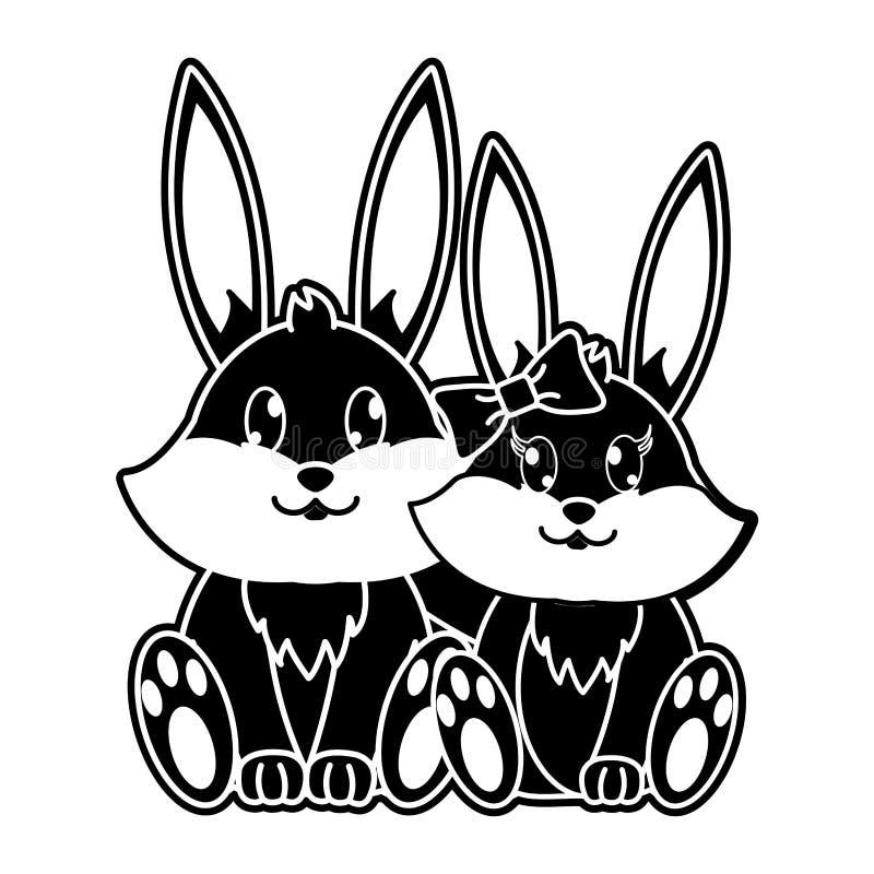一起剪影兔子夫妇逗人喜爱的动物 向量例证