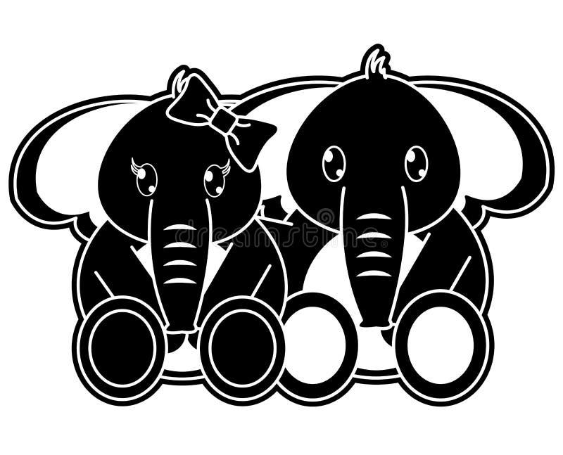 一起剪影夫妇大象逗人喜爱的动物 向量例证