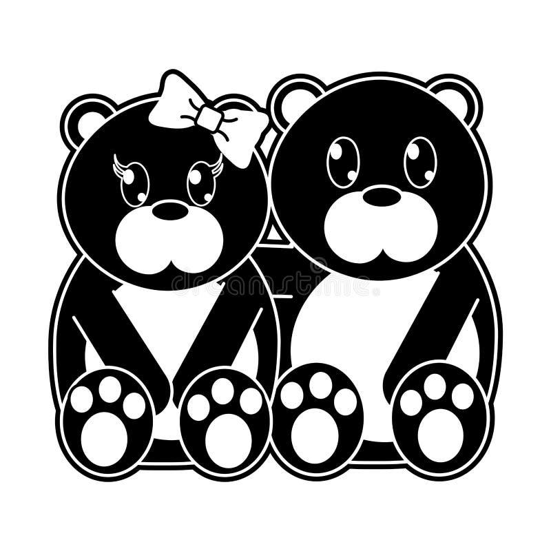 一起剪影熊夫妇逗人喜爱的动物 向量例证