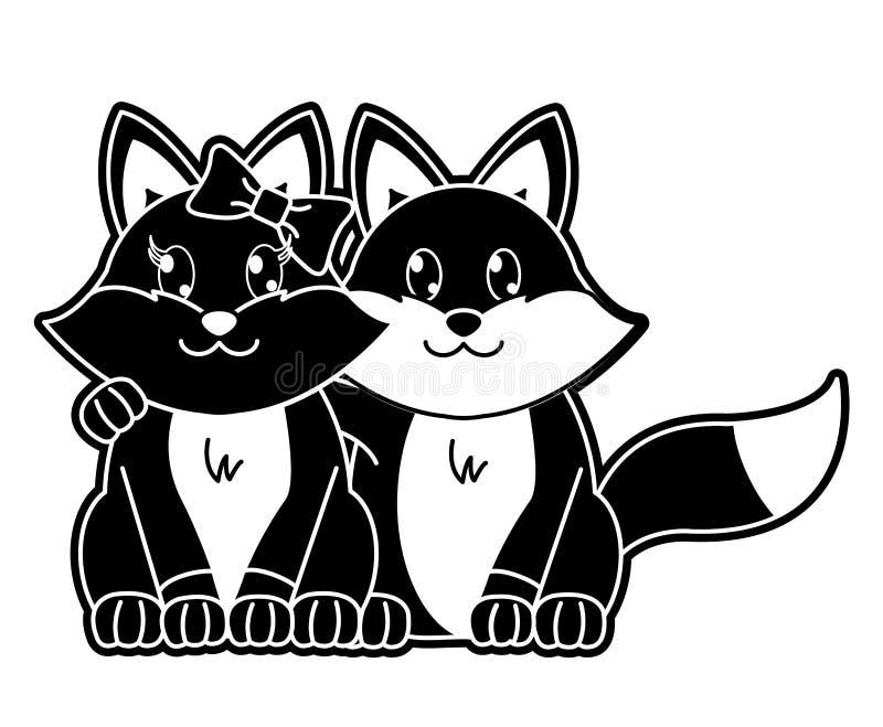 一起剪影狐狸夫妇逗人喜爱的动物 皇族释放例证