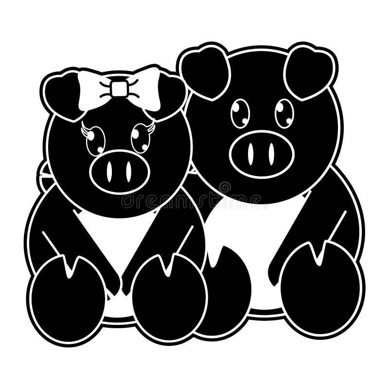 一起剪影猪夫妇逗人喜爱的动物 库存例证