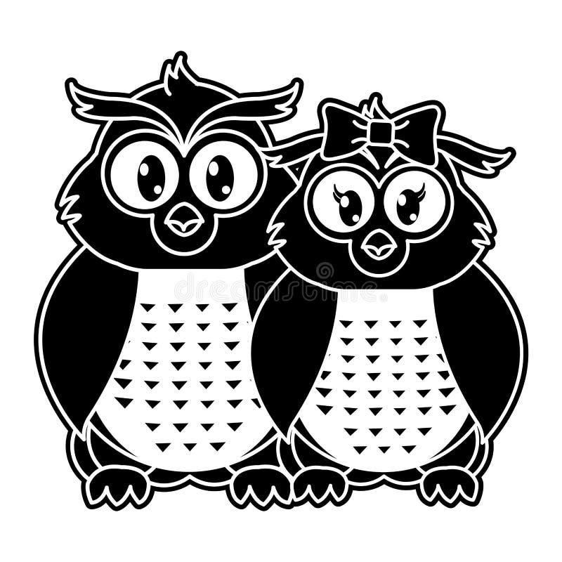 一起剪影猫头鹰夫妇逗人喜爱的动物 向量例证