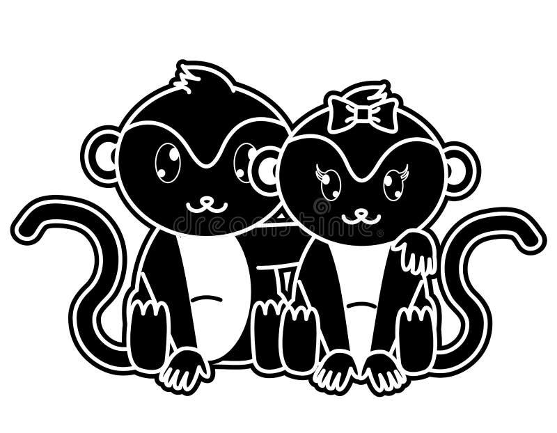 一起剪影猴子夫妇逗人喜爱的动物 皇族释放例证