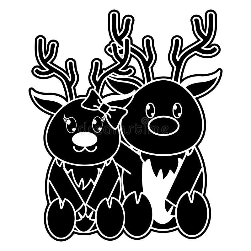 一起剪影驯鹿夫妇逗人喜爱的动物 皇族释放例证
