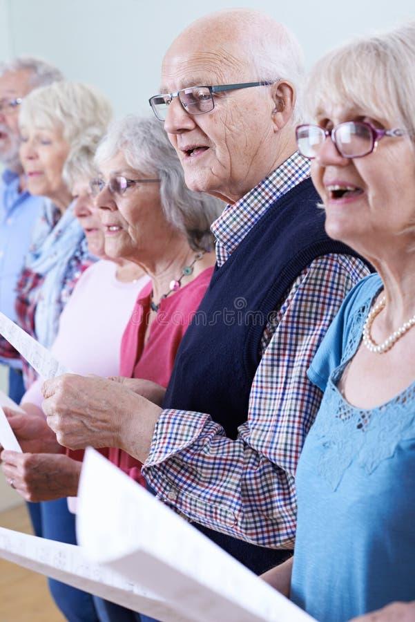 一起唱歌在唱诗班的小组前辈 图库摄影