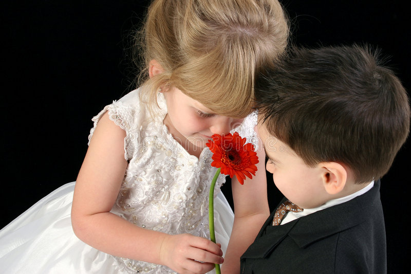 一起嗅到年轻人的可爱的儿童雏菊 免版税库存照片