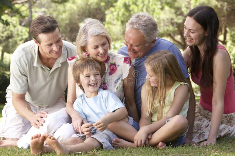 一起坐在公园的三一代家庭 免版税库存照片