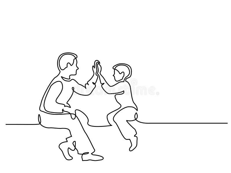 一起坐的父亲和的儿子 向量例证