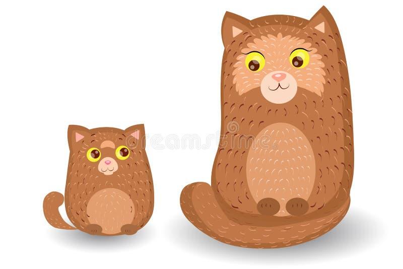 一起坐的猫和的小猫 向量例证