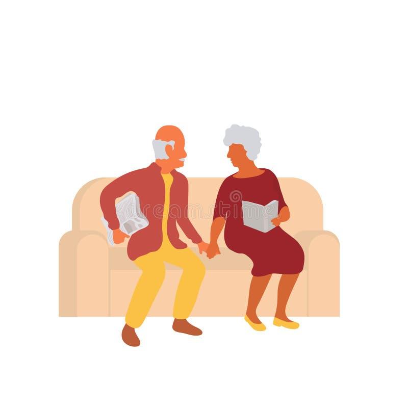 一起坐长沙发和握手的资深夫妇 皇族释放例证