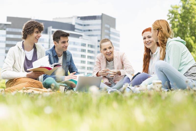 一起学习在草的大学生 图库摄影