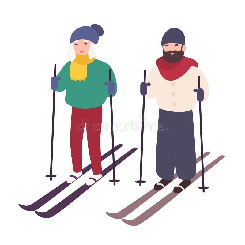 一起年轻夫妇滑雪 愉快的微笑的男人和妇女滑雪的 冬季体育和消遣活动 逗人喜爱的动画片 皇族释放例证