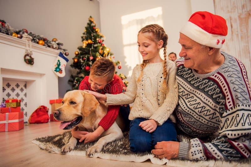 一起庆祝假日的快乐的家庭 库存图片