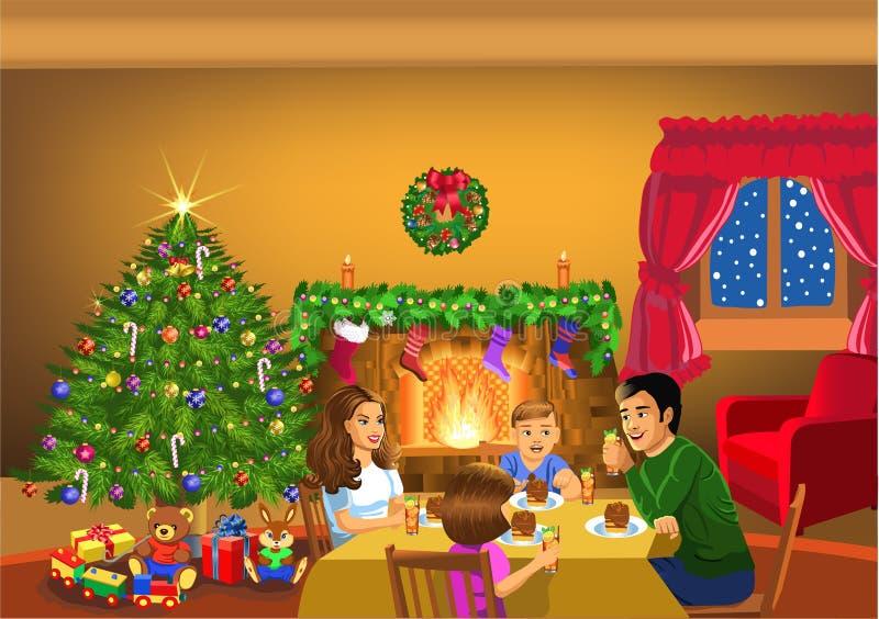 一起庆祝圣诞节的愉快的家庭 向量例证
