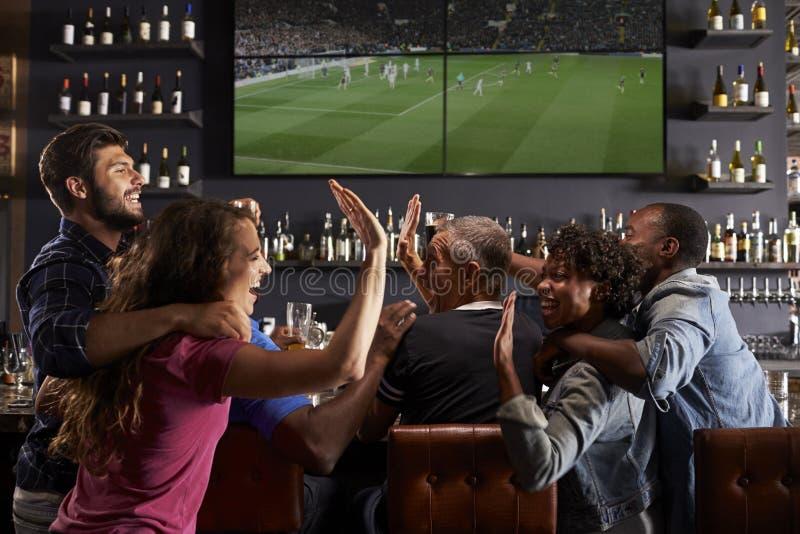 一起庆祝在酒吧的朋友背面图  库存图片