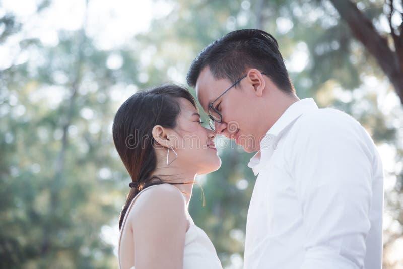 一起微笑在公园的年轻夫妇 图库摄影