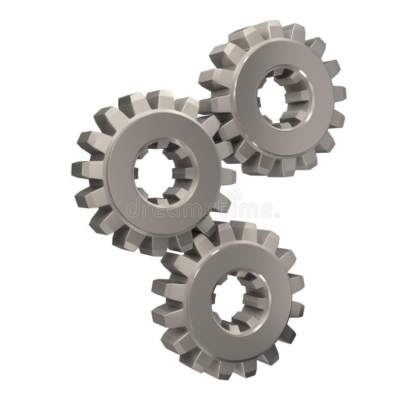 一起捕捉镍三的齿轮 库存例证