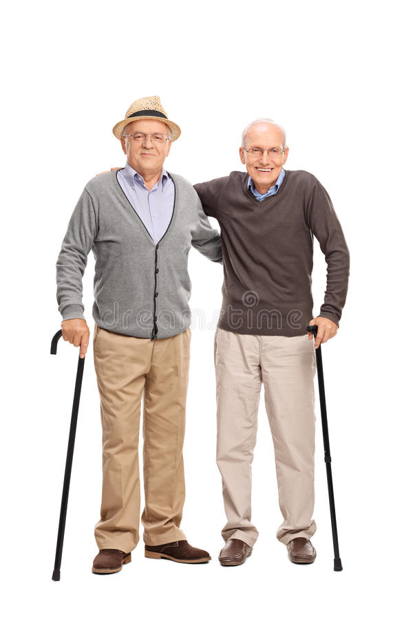 一起摆在两个的老朋友 库存照片