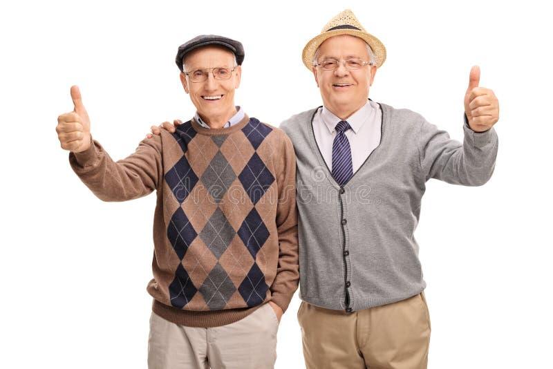 一起摆在两个资深的朋友 免版税库存照片