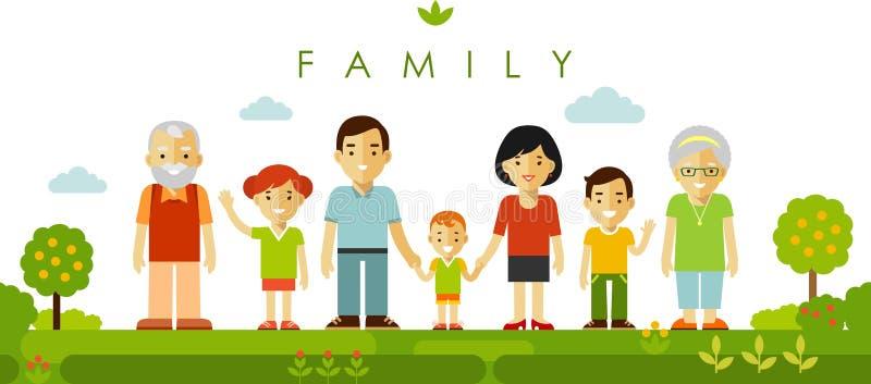 一起摆在平的样式的套七个家庭成员 库存例证