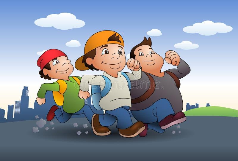 一起旅行三的男孩的例证 图库摄影