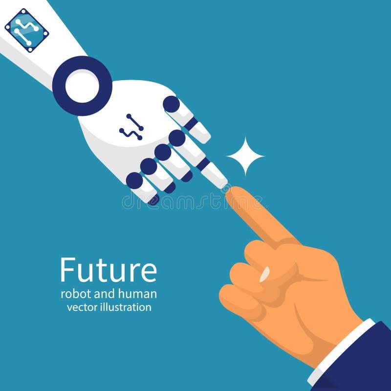 一起机器人和人 皇族释放例证