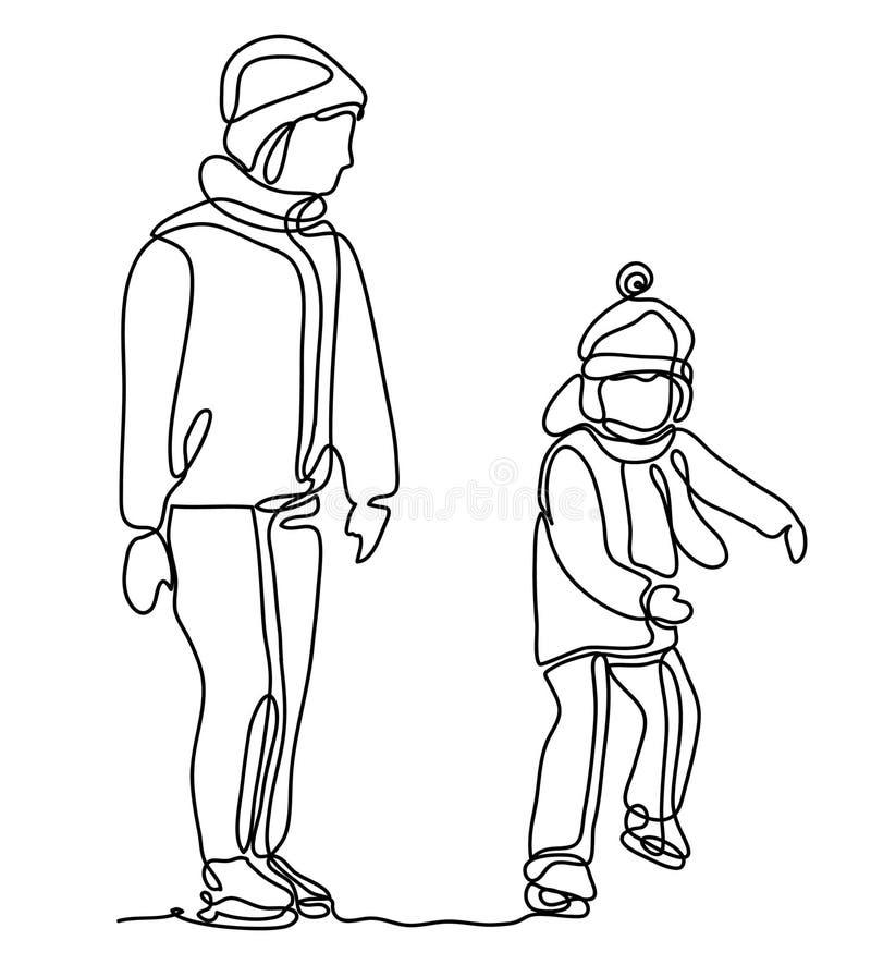一起滑冰的母亲和的女儿,隔绝在白色背景 获得的母亲和的女儿谈和乐趣 皇族释放例证
