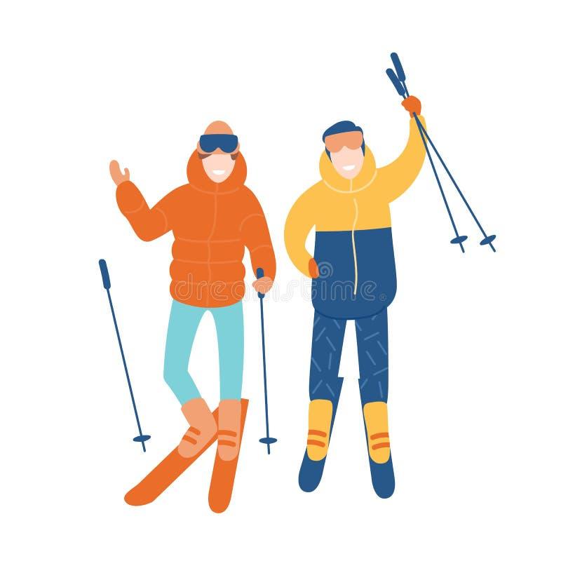 一起滑雪年轻夫妇或对的朋友 微笑的男人和妇女滑雪的 冬天极限运动和室外 向量例证