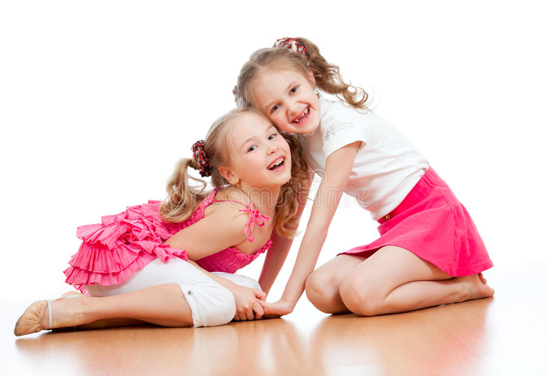 一起演奏二的女孩 免版税图库摄影