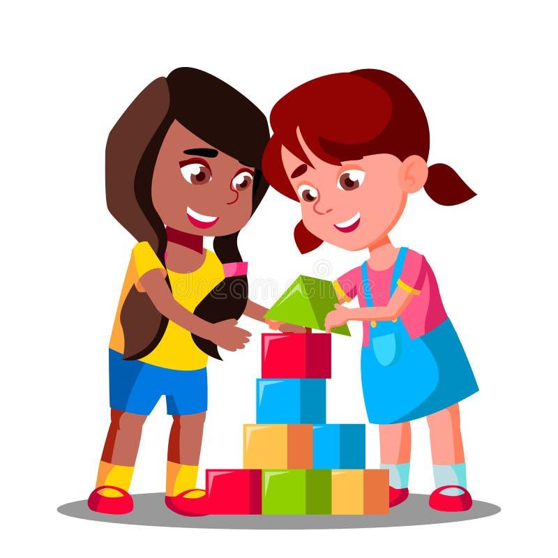 一起演奏传染媒介的多种族小组孩子 按钮查出的现有量例证推进s启动妇女 向量例证