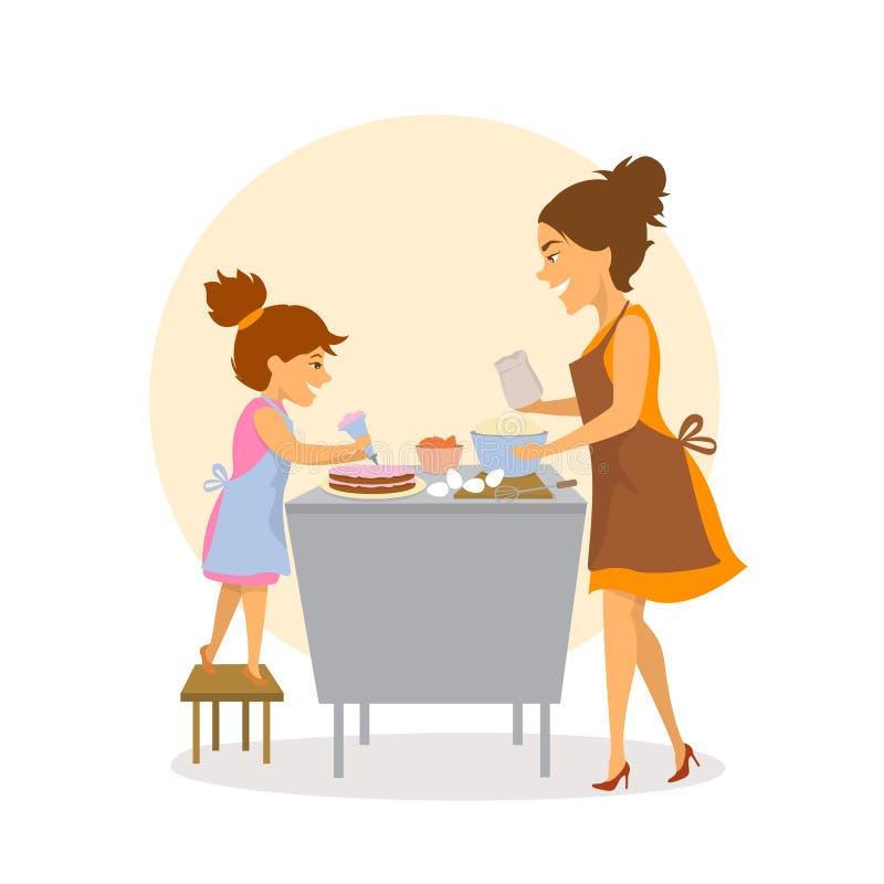 一起烘烤的母亲和的女儿在厨房里在家结块 皇族释放例证