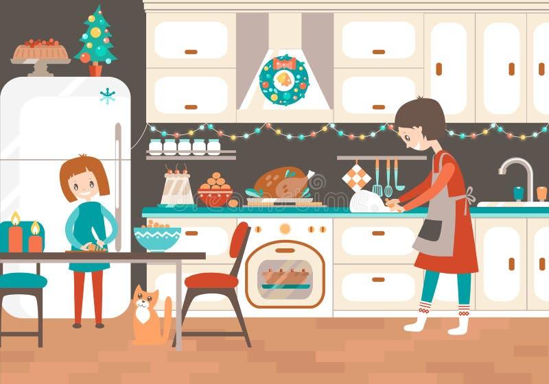 一起烹调在厨房圣诞节款待的妈妈和dauhter 库存例证
