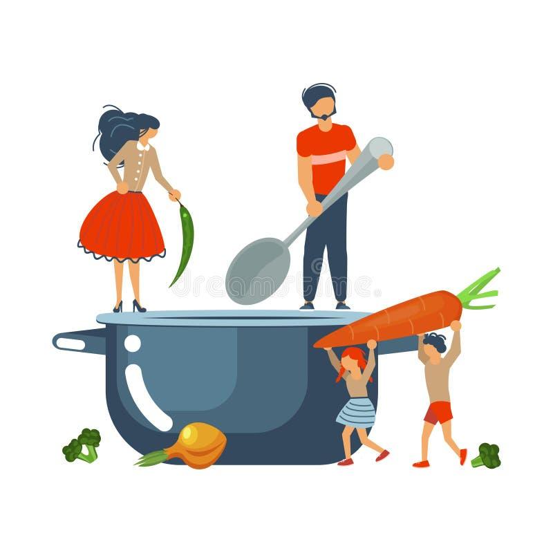 一起烹调概念的愉快的愉快的家庭 库存例证
