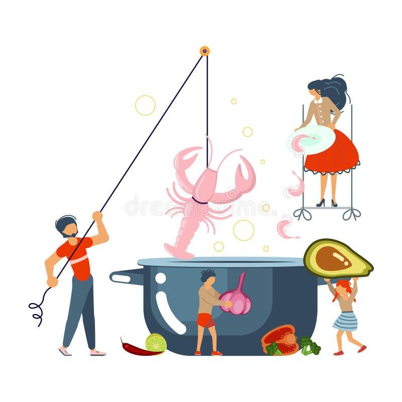 一起烹调海鲜汤概念的幸福家庭 库存例证