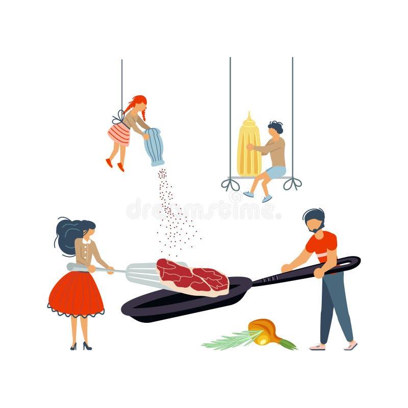 一起烹调炸猪排的幸福家庭 向量例证