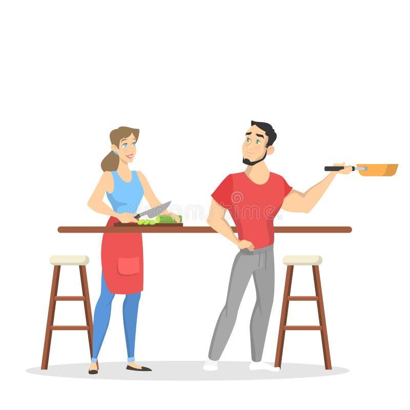 一起烹调的男人和的妇女 丈夫和妻子 向量例证