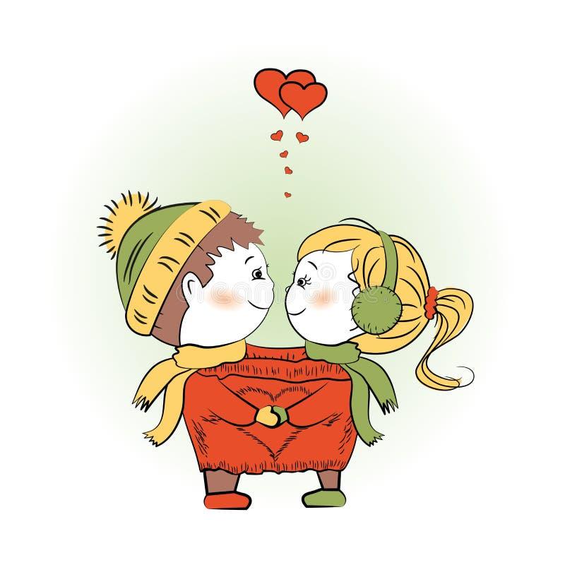 一起爱恋的夫妇在一件唯一夹克, Valentine& x27; s天招呼 皇族释放例证
