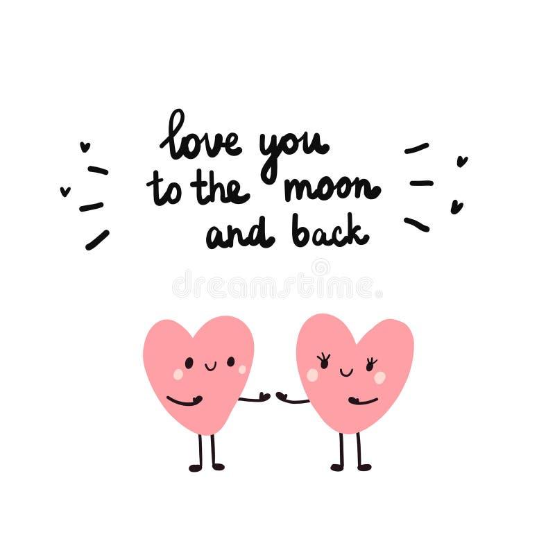 一起爱您对月亮和后面手拉的例证与心脏夫妇  向量例证