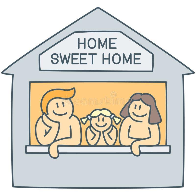 一起父母和女孩在屋子里当愉快的童年的传染媒介例证 向量例证