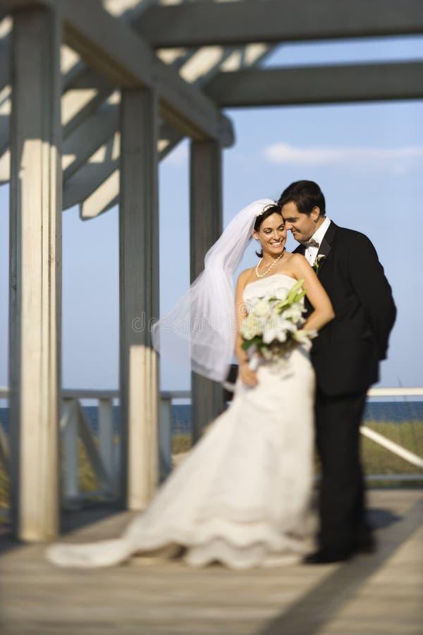一起突出新娘的新郎 免版税库存图片