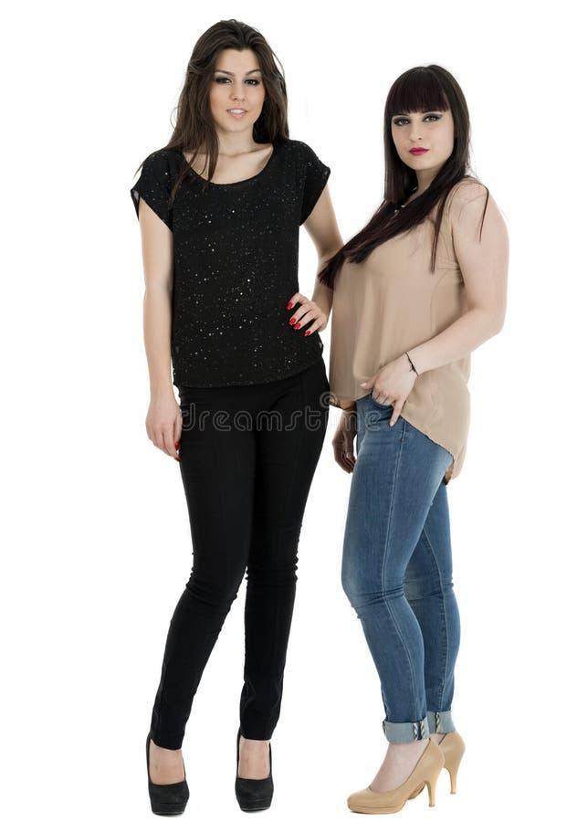 一起站立两名美丽的年轻肉欲的魅力的妇女  库存照片