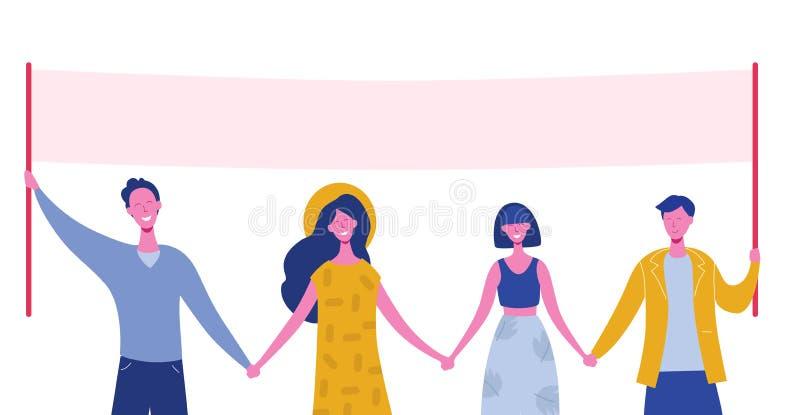 一起站立和拿着空白的横幅的小组微笑的年轻人和妇女 参加游行或集会的人们 向量例证